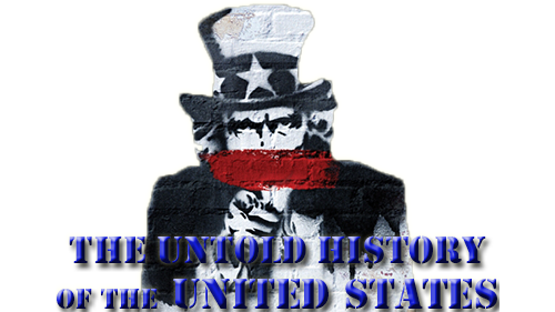 Oliver Stone's Untold History of the United States tv show image with logo and character